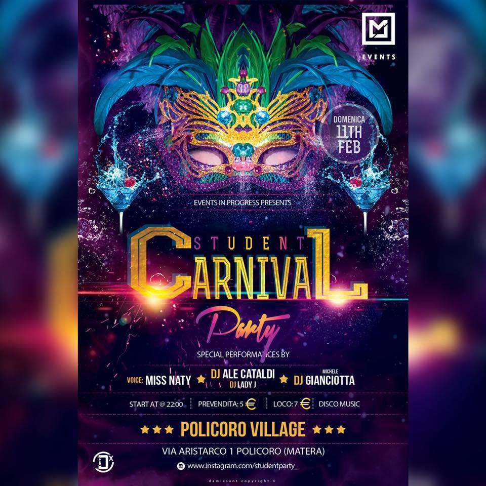 Student Carnival Party: l'11 febbraio al Policoro Village la festa di carnevale più cool del Metapontino